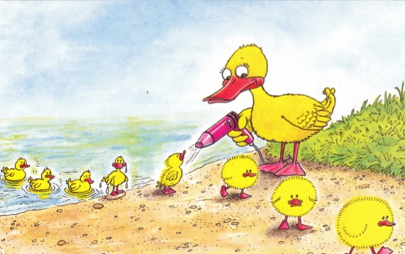 fluffy chicks - rainbow postcards