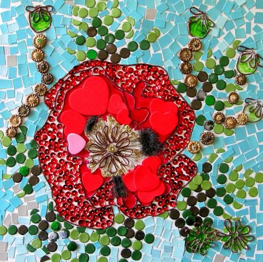 Poppy (mosaic, metal and wool) - m.joy