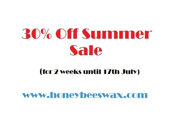 Summer Sale at www.honeybeeswax.com
