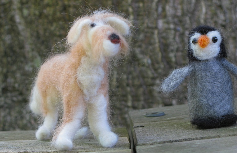 Dudley the Labradoodle and a random Penguin Chick - m.joy