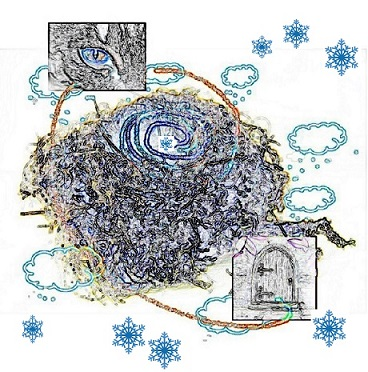birds nest plus clouds and spiral, eye and little door and snowflakes  reversed - m.joy