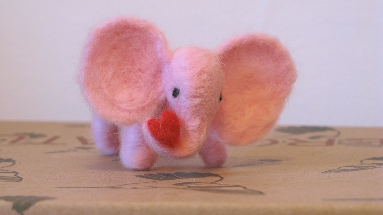 Little Pink Elephant with Heart - m.joy