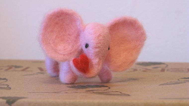 Little Pink Elephant with Heart - m.joy