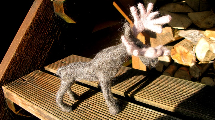 Moose - hand made from Shetland wool - M.Joy