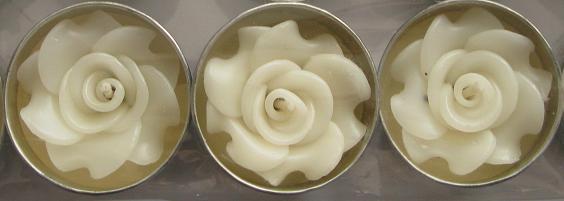 White Rose Flower T-Lights