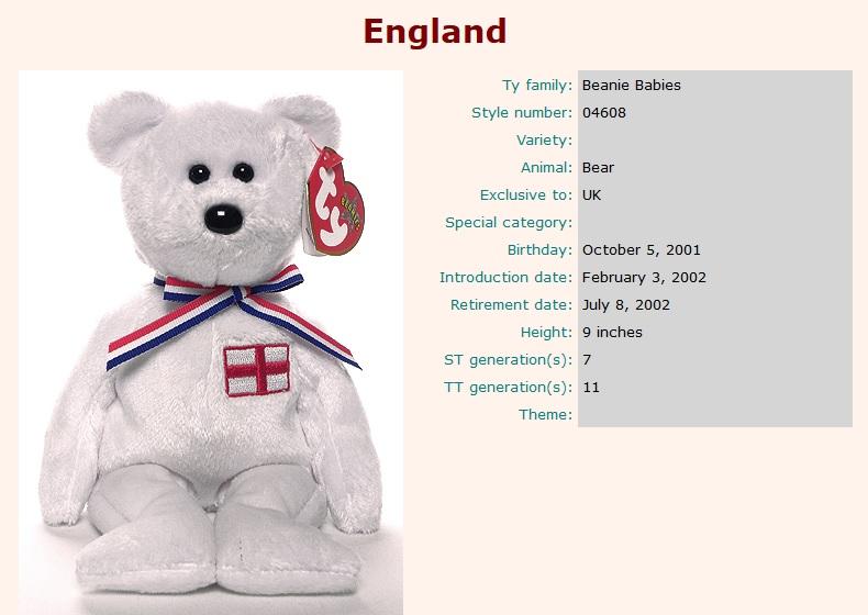 Ty Beanie Babies - England