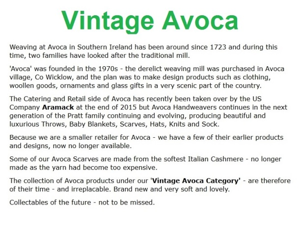 Avoca and Vintage Avoca - at www.honeybeeswax.com